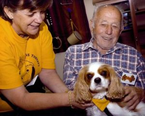 Animal Assisted Therapy small dog visiting elderly gentleman
